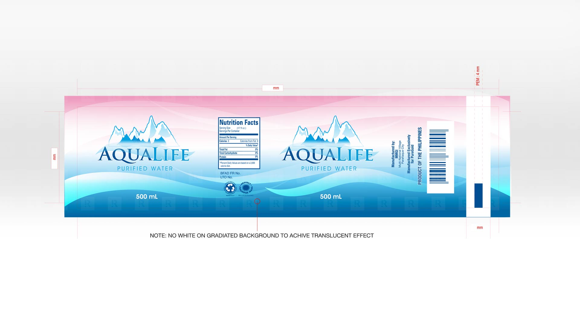 AquaLife Purified Water Label Design