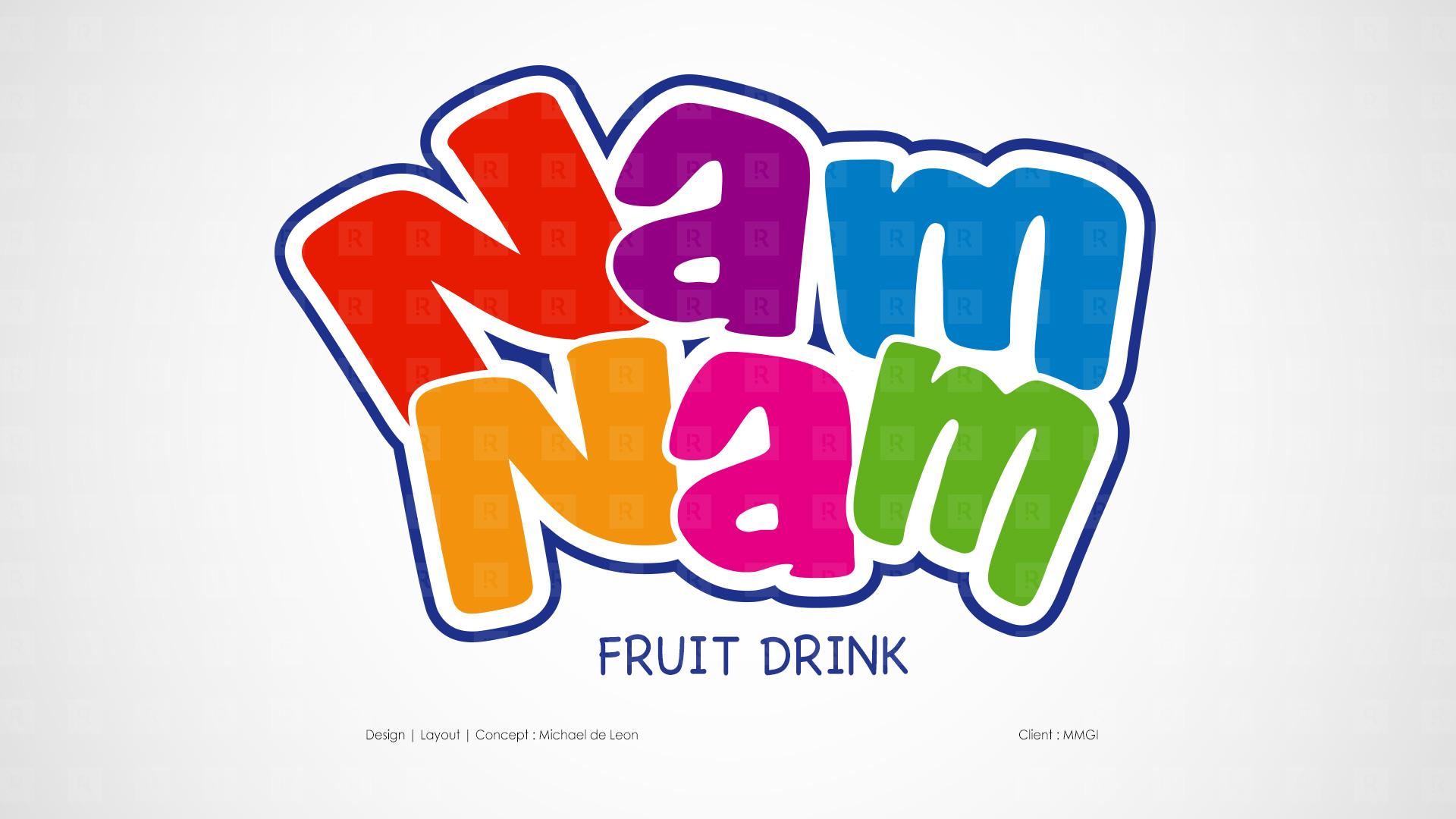Nam Nam Fruit Drink Concept | Layout | Final Artwork | Packaging | Character Design