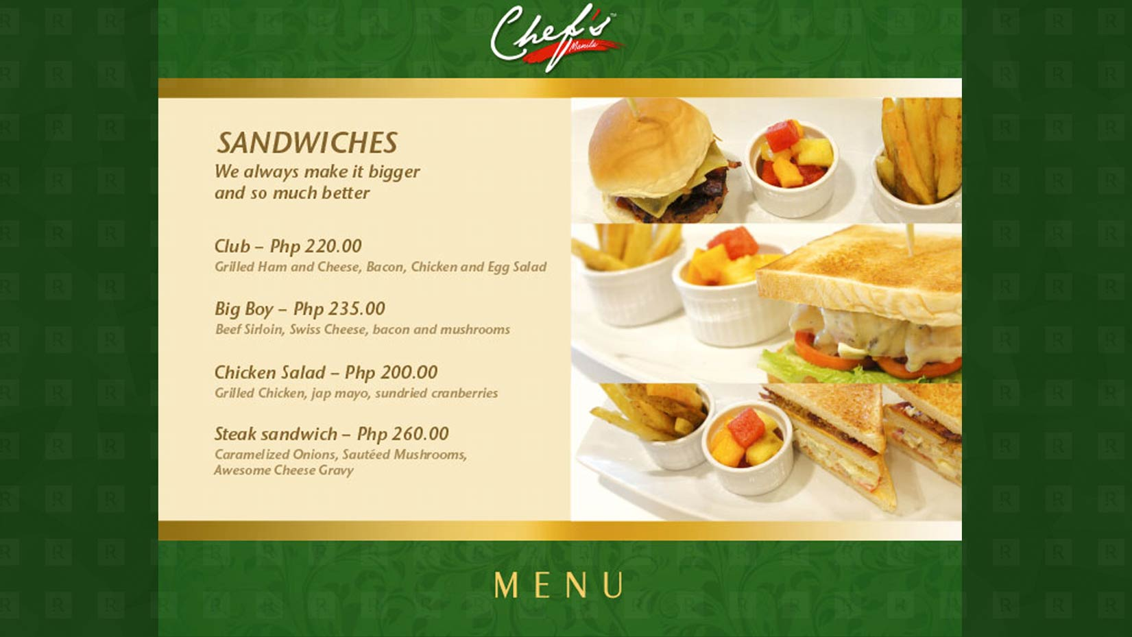 The Chef Manila Menu