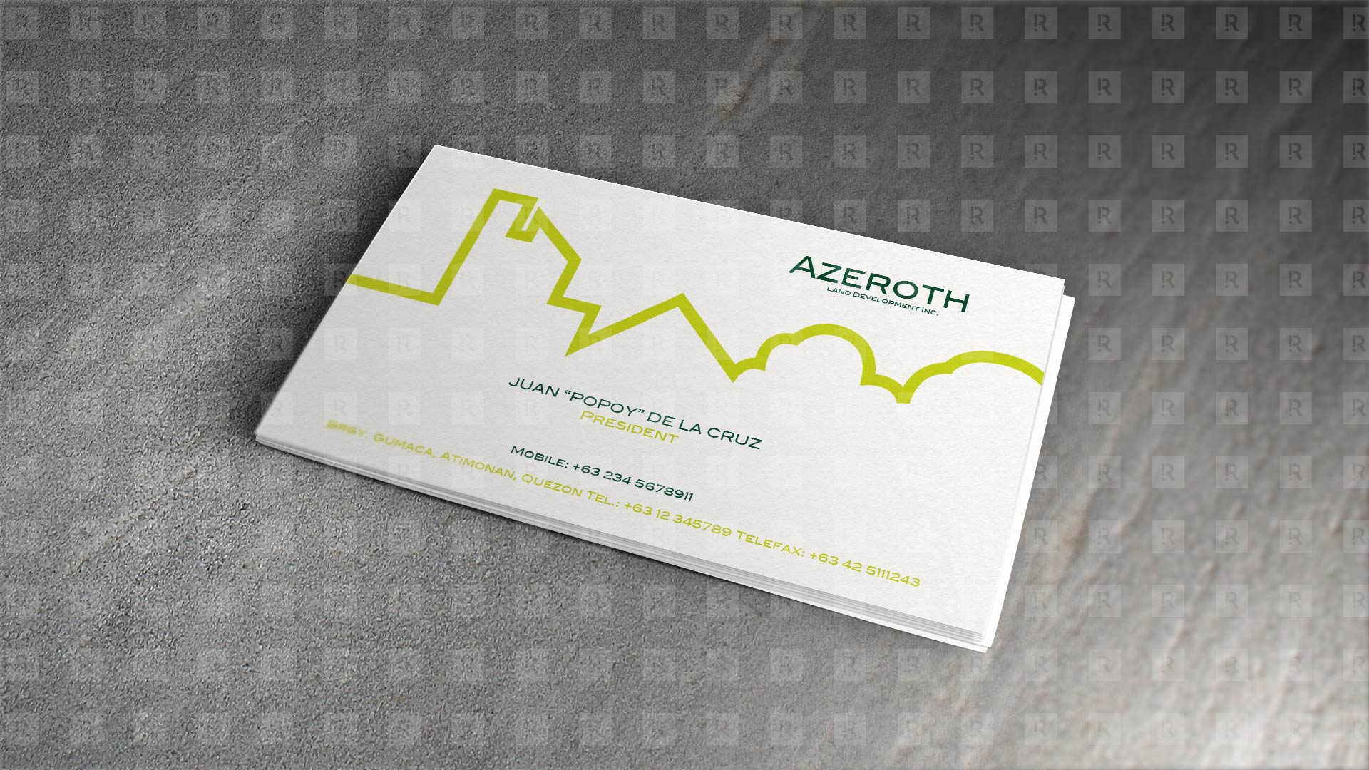 Azeroth Land Development Inc. calling card design